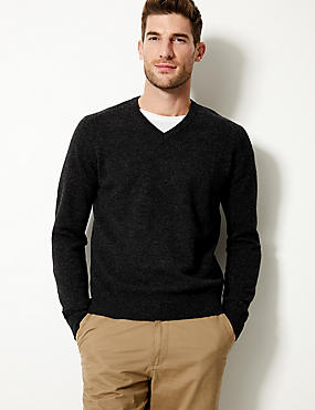 Pure Lambswool V-Neck  Jumper, DARK CHARCOAL, catlanding