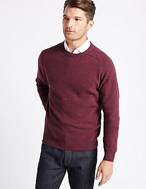 Pure Lambswool Crew Neck  Jumper, RASPBERRY, catlanding