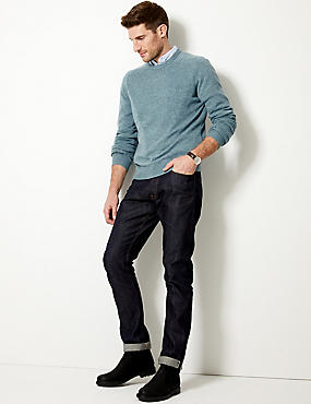 Pure Lambswool Crew Neck  Jumper, PEACOCK, catlanding