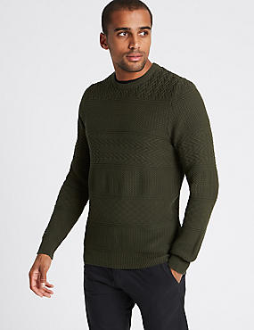Pure Cotton Gansey Textured Jumper, BARK, catlanding