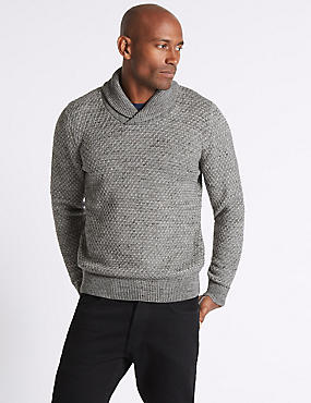 Cotton Rich Textured Shawl Neck Jumper, CHARCOAL MIX, catlanding