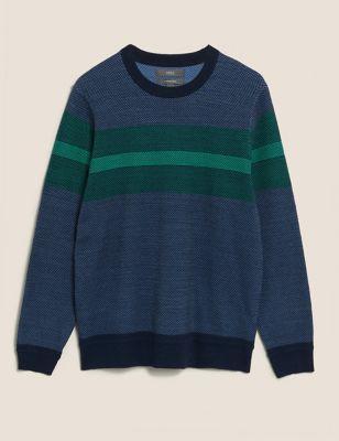 Cotton Textured Chest Stripe Jumper