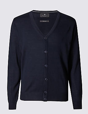 Merino Wool Blend Tailored Fit Cardigan, NAVY, catlanding