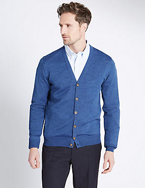 Merino Wool Blend Tailored Fit Cardigan, CHAMBRAY, catlanding