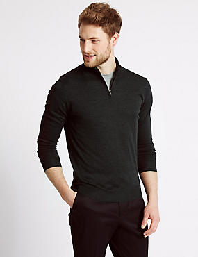 Merino Wool Blend Zipped Jumper, CHARCOAL, catlanding
