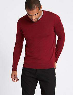 Pure Merino Wool V-Neck Jumper, RED, catlanding