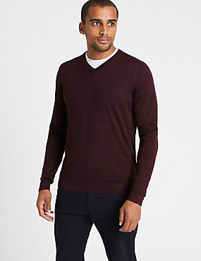 Pure Merino Wool V-Neck Jumper, AUBERGINE, catlanding