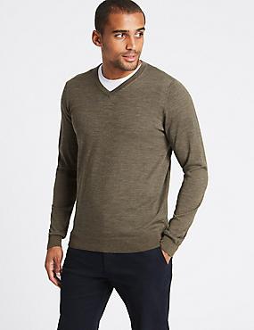 Pure Merino Wool V-Neck Jumper, TAUPE, catlanding