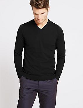 Pure Merino Wool V-Neck Jumper, BLACK, catlanding