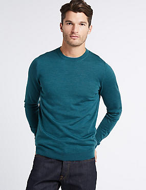 Pure Merino Wool Crew Neck Jumper, PETROL GREEN, catlanding