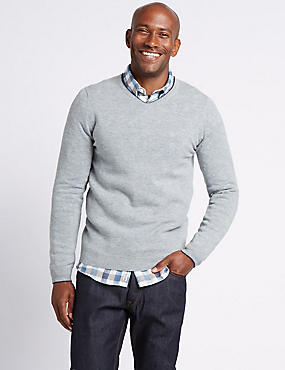 Merino Wool Rich V-Neck Jumper, BLUE/GREY, catlanding