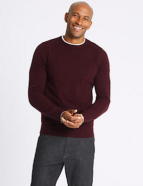 Merino Wool Rich Crew Neck Jumper, BERRY, catlanding