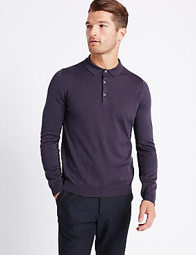 Merino Wool Blend Polo Shirt, PURPLE, catlanding