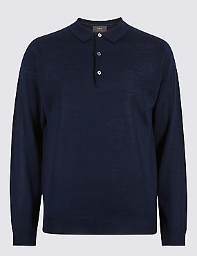 Merino Wool Blend Polo Shirt, NAVY, catlanding