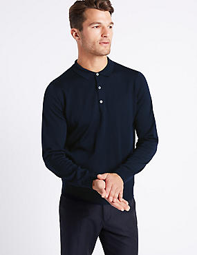 Merino Wool Blend Polo Shirt, NAVY MIX, catlanding