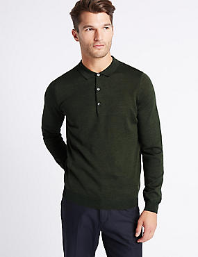 Merino Wool Blend Polo Shirt, GREEN MIX, catlanding