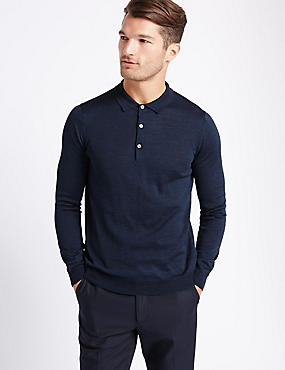 Merino Wool Blend Polo Shirt, BLUE DENIM, catlanding