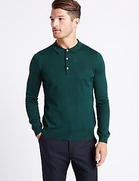 Merino Wool Blend Polo Shirt, TEAL, catlanding
