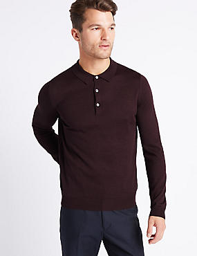 Merino Wool Blend Polo Shirt, BURGUNDY MIX, catlanding