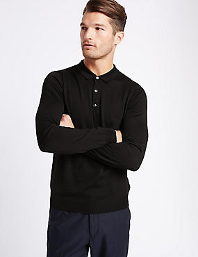 Merino Wool Blend Polo Shirt, BLACK MIX, catlanding