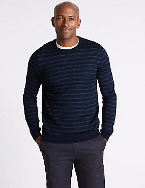 Merino Wool Blend Striped Jumper, NAVY MIX, catlanding