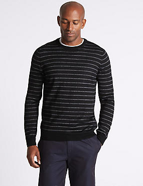 Merino Wool Blend Striped Jumper, CHARCOAL MIX, catlanding
