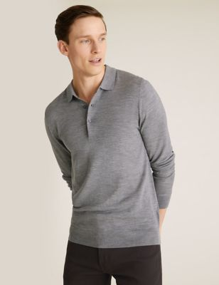 Pure Extra Fine Merino Knitted Polo Shirt