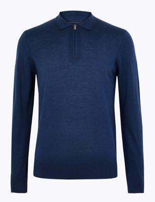 Pure Merino Wool Knitted Polo Shirt