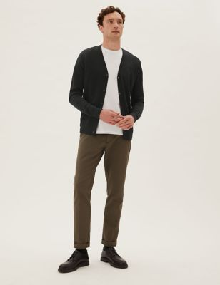 Pure Extra Fine Merino Wool V-Neck Cardigan