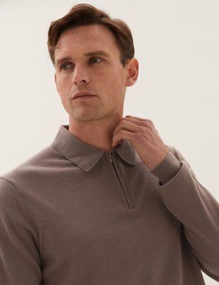Pure Extra Fine Merino Zip Neck Polo Shirt