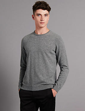 Pure Cashmere Crew Neck Jumper, GREY, catlanding