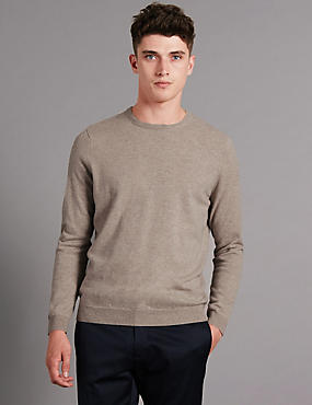 Pure Cashmere Crew Neck Jumper, NATURAL, catlanding