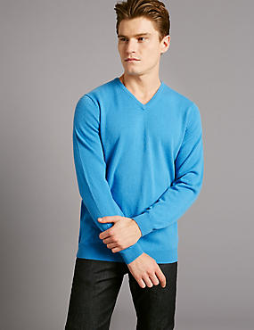 Pure Cashmere V-Neck Jumper, BLUE MIX, catlanding