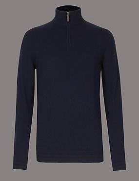 Pure Cashmere Half Zipped Jumper, NAVY, catlanding