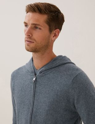Pure Cashmere Zip Up Knitted Hoodie