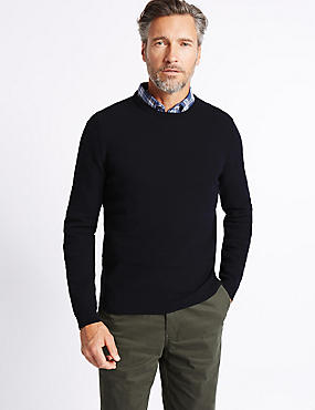 Cotton Rich Textured Crew Neck  Jumper, NAVY, catlanding