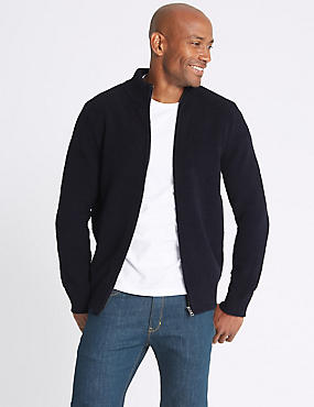 Chenille Zipped Through Cardigan, NAVY, catlanding