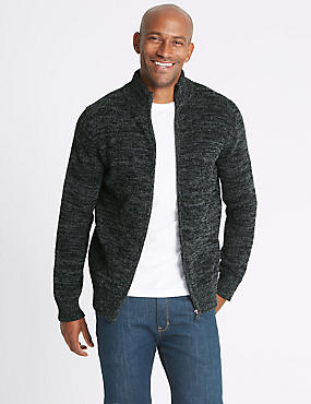 Chenille Zipped Through Cardigan, GREY MIX, catlanding