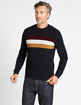 Cotton Rich Striped Crew Neck  Jumper, NAVY MIX, catlanding