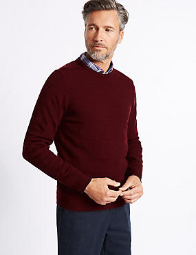 Cotton Rich Textured Crew  Jumper, CRANBERRY, catlanding