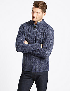 Textured Half Zipped Jumper, MID BLUE, catlanding