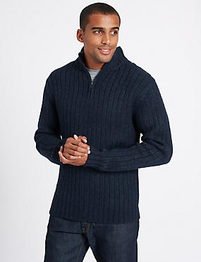 Textured Half Zipped Jumper, NAVY, catlanding