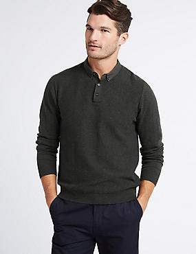 Pure Cotton Textured Mock Shirt Jumper, CHARCOAL, catlanding
