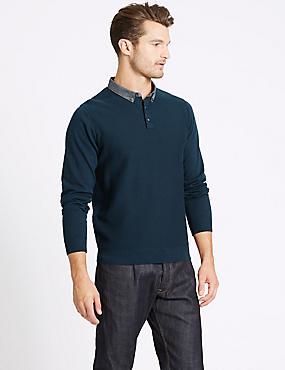Pure Cotton Textured Mock Shirt Jumper, DARK TEAL, catlanding