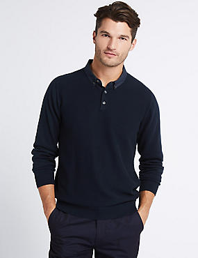 Pure Cotton Textured Mock Shirt Jumper, NAVY MIX, catlanding