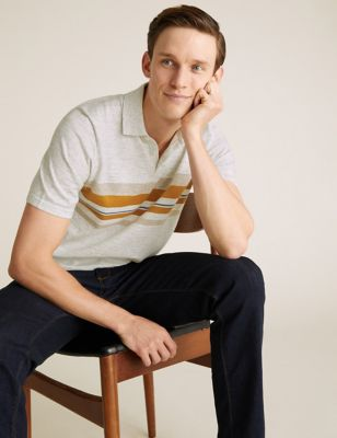 Cotton Chest Stripe Knitted Polo Shirt