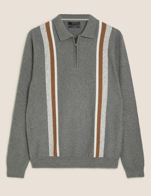 Cotton Striped Zip Neck Knitted Polo Shirt