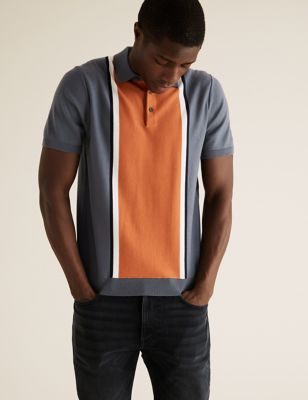 Cotton Striped Knitted Polo Shirt