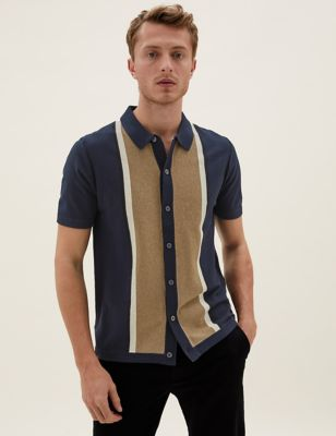 Cotton Block Striped Knitted Polo