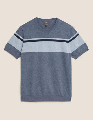 Cotton Block Stripe Knitted T-Shirt
